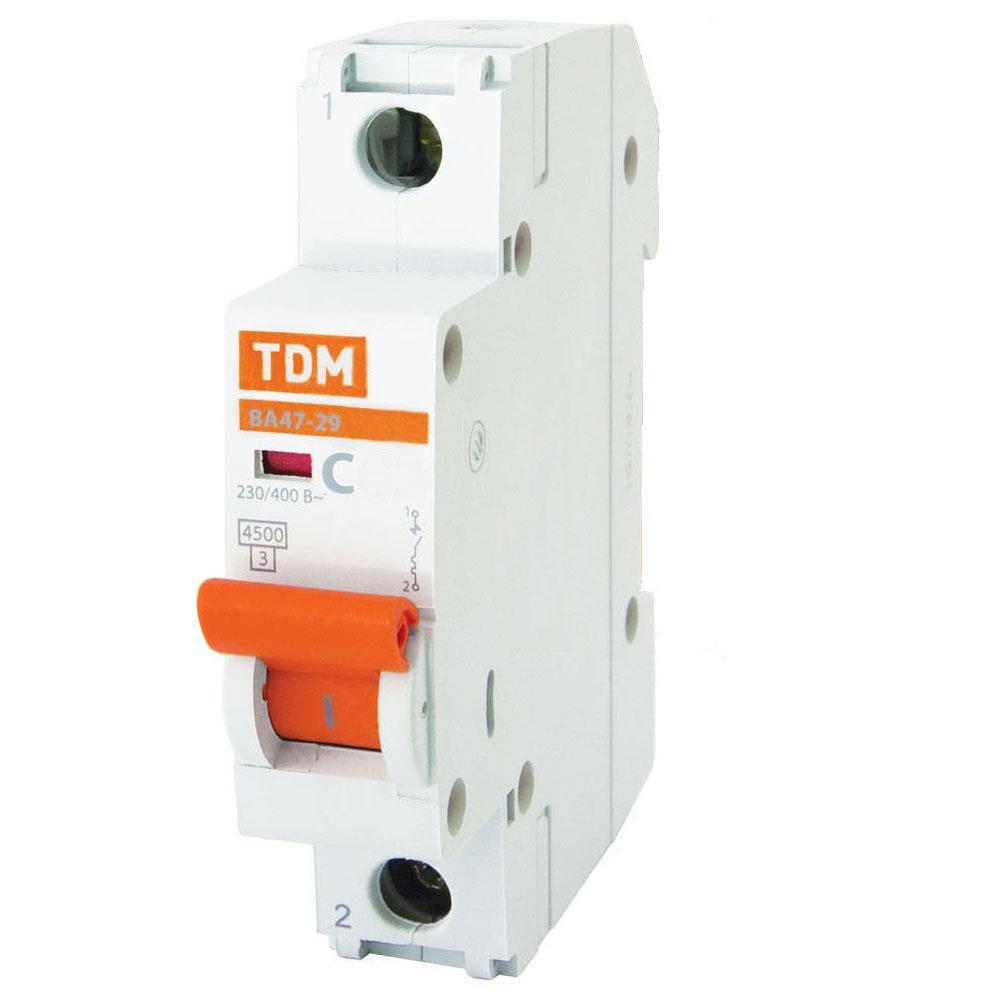 Выключатель автоматический ВА 47-29 1Р 4А 4,5кА х-ка С TDM SQ0206-0068