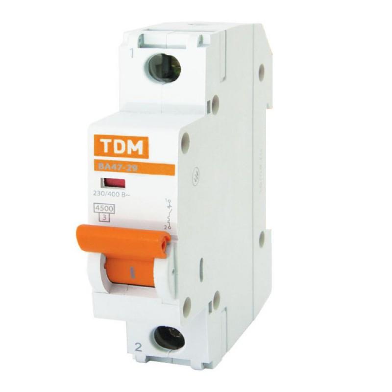 Выключатель автоматический ВА 47-29 1Р 50А 4,5кА х-ка С TDM SQ0206-0079